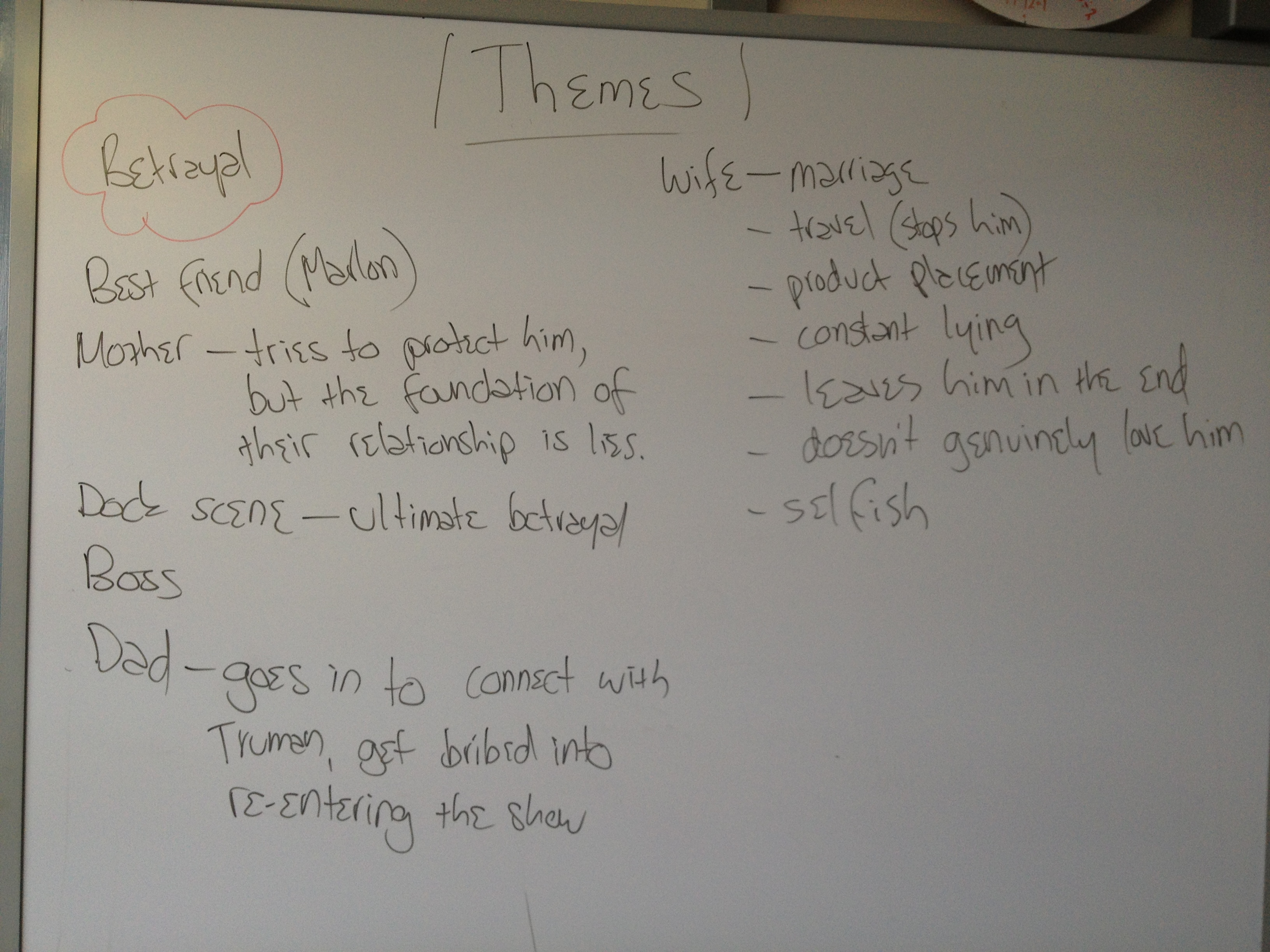 the truman show essay the truman show essay university media the truman show themes englishhere is the stuff we did on the board the other day